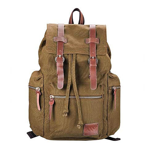 "GHP 17.3""x14""x5"" Vintage Multi-Purpose Canvas Backpack with Zip-Up/Open Pockets"