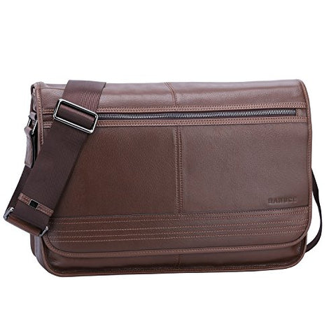 "Banuce Brown Real Leather Messenger Bag for Men 14"" Laptop Shoulder Briefcase Flapover Business"