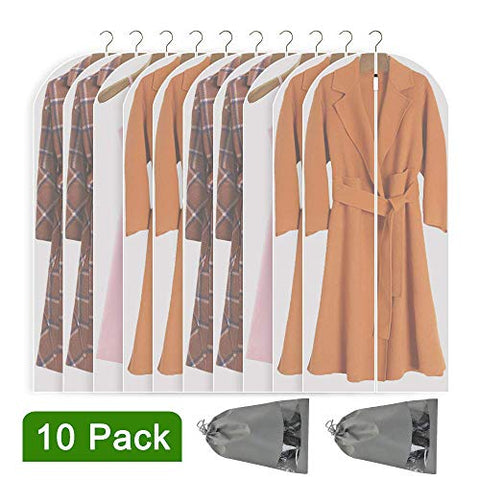 Perber Hanging Garment Bag Lightweight Clear Full Zipper Suit Bags (Set of 10) PEVA Moth-Proof Breathable Dust Cover for Closet Clothes Storage -White 24''55''/10 Pack