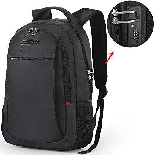 CrossGear Anti Theft Backpack with Lock Business Student Bag Slim Fits 15.6 Inch Laptops CR-9002BK