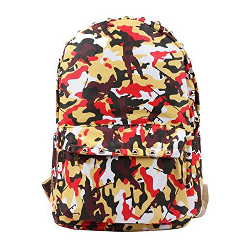 Damara Practical Waterproof PU Camouflage Backpack,Red