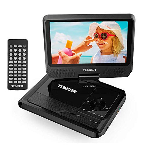 "TENKER 11"" Portable DVD Player with 9.5"" Swivel Screen, Built-in Rechargeable Battery and SD Card Slot & USB Port [Upgraded Version]"