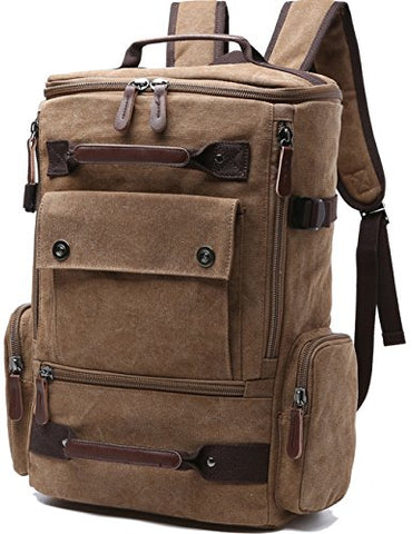 Canvas Backpack, Aidonger Vintage Canvas School Backpack Hiking Travel Rucksack Fits 15'' Laptop