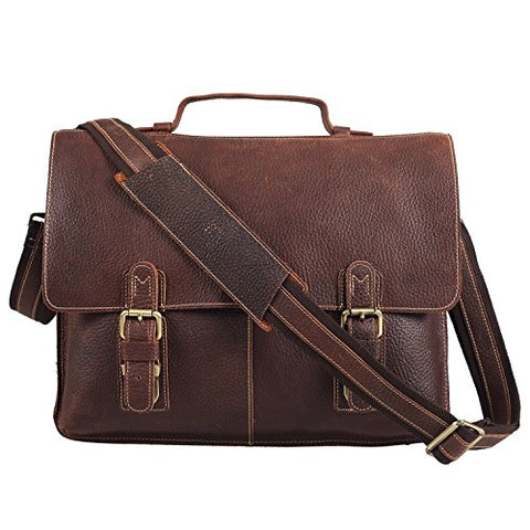 Polare Men'S 14'' Real Leather Professional Messenger Bag Laptop Briefcase
