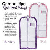 Clear Plastic Garment Bag with Pockets for Dance Competitions Danshuz - Lavender