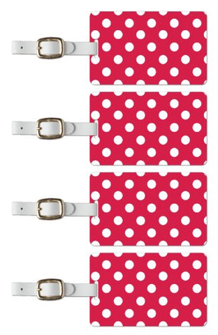 Tag Crazy Polka Premium Luggage Tags Set Of Four, Red, One Size