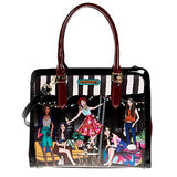 Nicole Lee Stylish Printed Women's Briefcase Spacious Satchel Bag Shoulder Bag, house Party