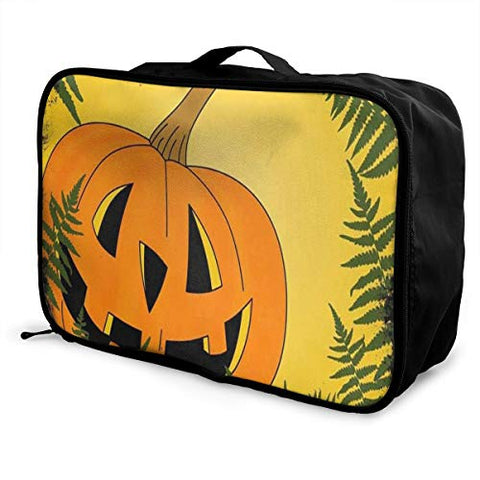 Travel Bags Happy Halloween Funny Pumpkin Portable Tote Trolley Handle Luggage Bag