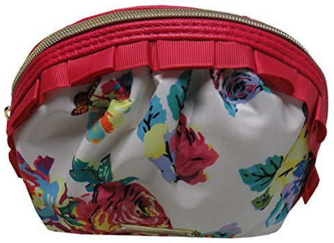 Betsey Johnson Women'S Mini Ruffle Cosmetic Bag, White/Floral