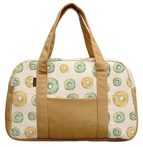 Women'S Lemon And Banana Frosted Donuts Printed Canvas Duffel Travel Bags Was_19