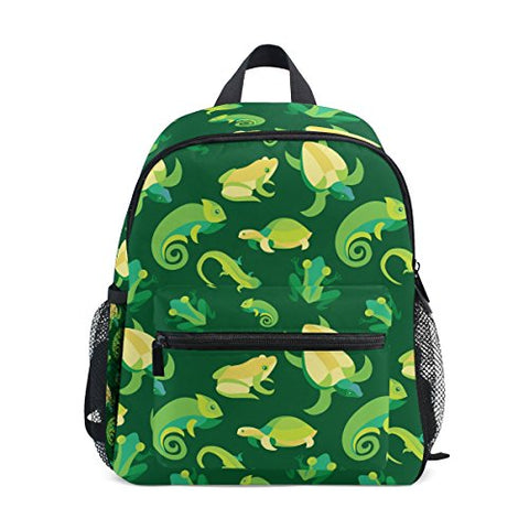 GIOVANIOR Frogs And Reptiles Lightweight Travel School Backpack for Boys Girls Kids