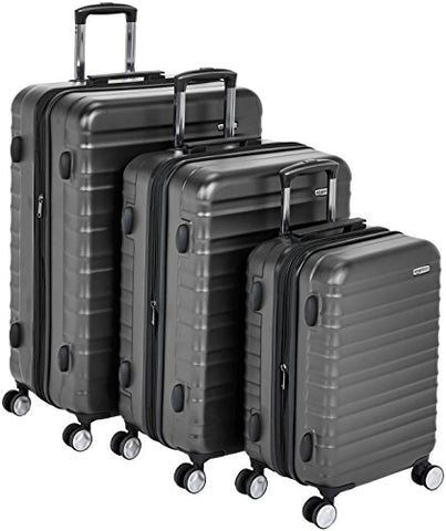 "AmazonBasics Premium Hardside Spinner Luggage with Built-In TSA Lock - 3-Piece Set (20"", 24"", 28""), Black"