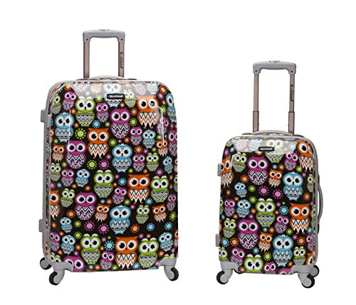Rockland 2 Piece Upright Luggage Set, Owl, One Size