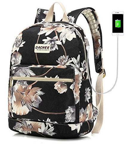 Laptop Backpack with USB Charging Port Waterproof School Bookbag Travel Backpack for 15.6 Inch