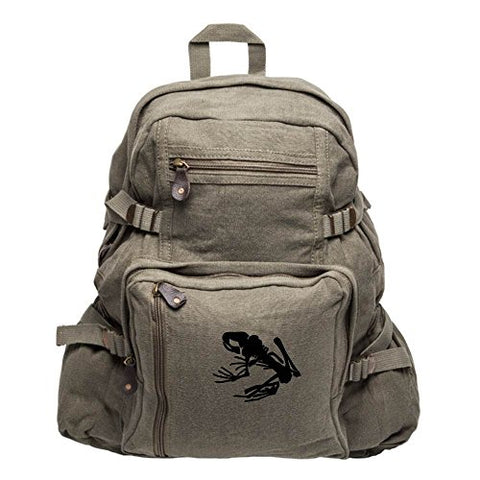 Navy Seal Team DEVGRU Frog Skeleton Army Sport Heavyweight Canvas Backpack Bag in Olive & Black,