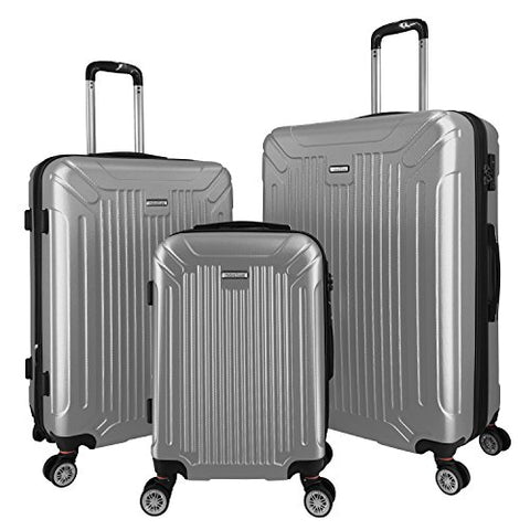 3 Pc Luggage Set Durable Lightweight Spinner Suitecase Lug3 Gl8216 Silver