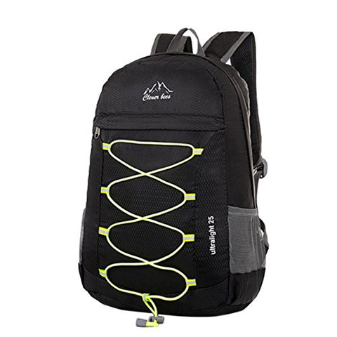 ABage Foldable Ultralight Water Resistant Packable Hiking Travel Daypack School Backpack, Black