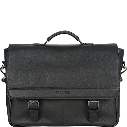 "Kenneth Cole Reaction Leather Single Compartment Flapover 15.0"" Computer Business Case Laptop Briefcase, Black, One Size"