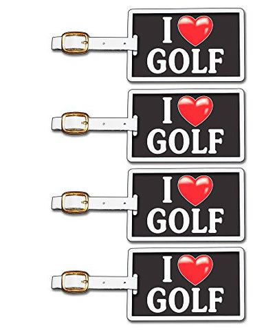 Tag Crazy I Heart Golf Four Pack, Black/White/Red, One Size