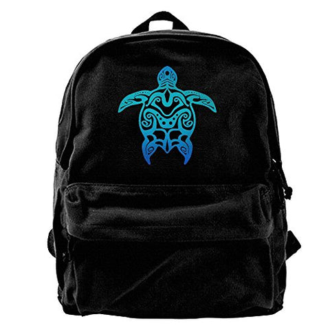 Evelyn C. Connor Tribal Ocean Blue Hawaiian Sea Turtle Canvas Shoulder Backpack Travel Backpack For