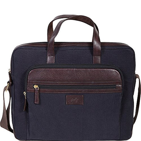 Scully Cambria Berkeley Laptop Brief (Brown Leather & Midnight Navy Canvas)