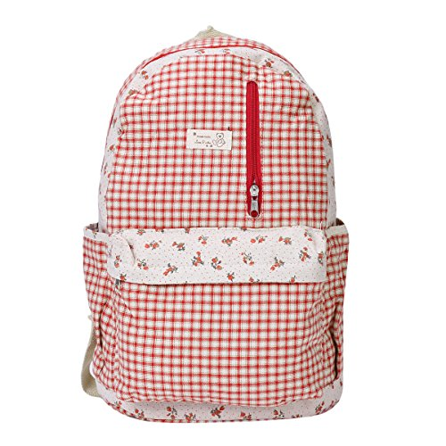 Damara Classic Lattice Print Zipper Backpack Rucksack,Red