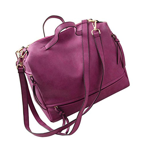 AutumnFall Women Messenger Vintage Nubuck Leather Motorcycle Retro Shoulder Bags (Hot Pink)