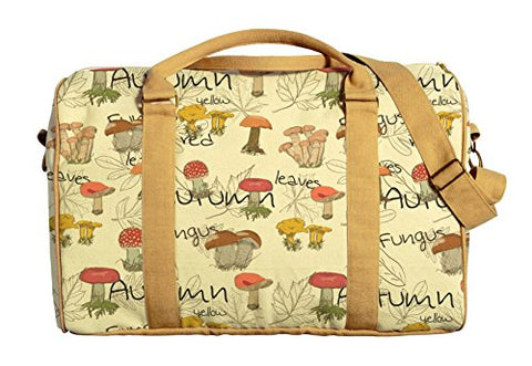 Mushroom Printed Oversized 100% Cotton Canvas Duffle Luggage Travel Bag Was_42