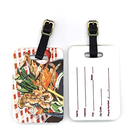 Caroline's Treasures 8537BT Pair of Crab Boil Luggage Tags, Large, multicolor