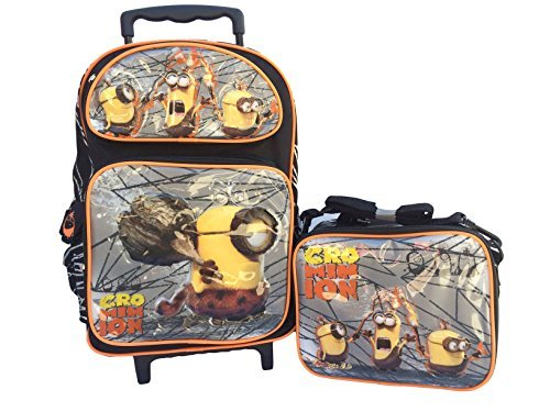 New 2015 Despicable Me Crominion Large Roller Backpack With Lunch Bag