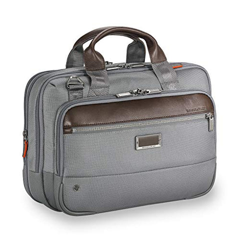 Briggs & Riley Small Expandable Brief Briefcase Grey One Size