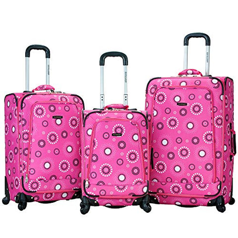 Rockland Luggage Fusion 3 Piece Luggage Set, Pink Pearl, Medium
