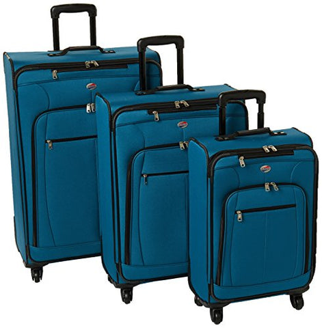 American Tourister Pop Plus 3-Piece Softside (SP21/25/29) Luggage Set with Multi-Directional Spinner Wheels, Moroccan Blue