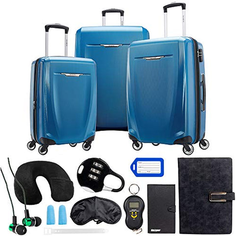 Samsonite Winfield 3 DLX 3 Piece Set (Spinner 20/25/28), Blue 120751-1112 with Deco Gear 10 Piece Luggage Accessory Ultimate Travel Bundle