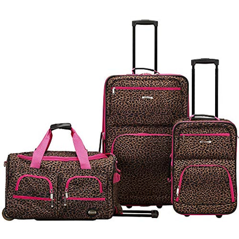 Rockland 3 Piece Luggage Set, Pink Leopard, One Size