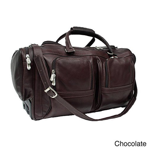 Piel Leather Duffel With Pockets On Wheels, Chocolate, One Size