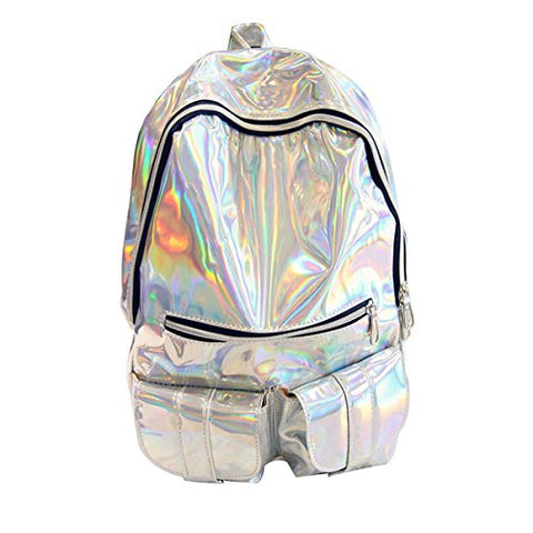 ABage Women's Hologram Backpack Casual Laser Travel School Bag College Backpack, Silver