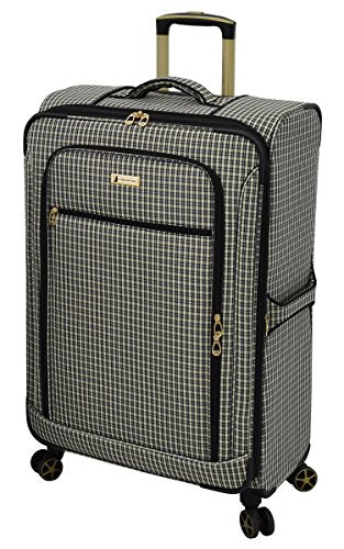 "London Fog Softside 28"" Spinner Suitcase, Black Tan Plaid"