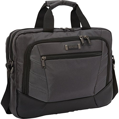 "Kenneth Cole Reaction Top Zip 15.6"" Laptop Case Briefcase, Charcoal Computer"