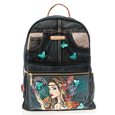 Denim Back Pack For Women With Multiple Compartments And Adjustable Shoulder Straps
