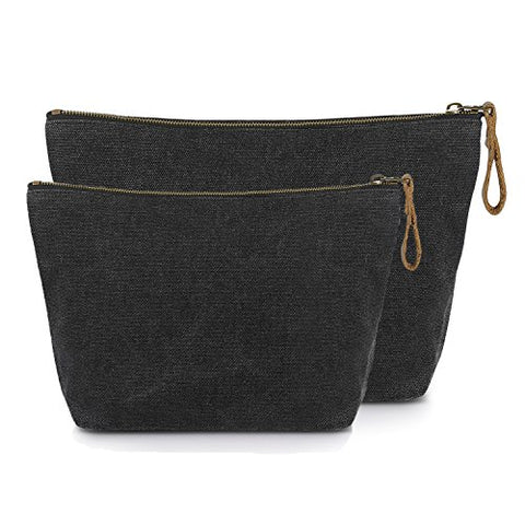 SMRITI Canvas Large Makeup Bag Pouch Purse Handbag Organizer with Zipper (7 Dark grey(Small+Large))