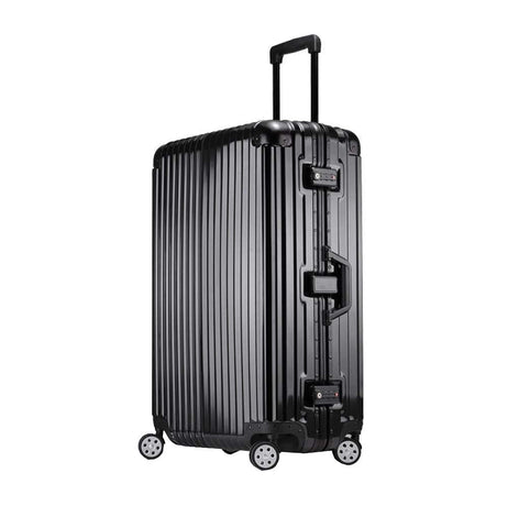 Trolley Suitcase, Caster Suitcase Trolley Suitcase, Retractable Suitcase, Hard-Shell Suitcase With Tsa Lock And 4 Casters, Black, 22 inch