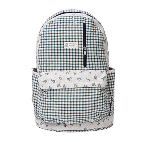 Damara Classic Lattice Print Zipper Backpack Rucksack,Blue