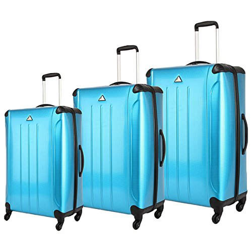 The Set of Classic blue Triforce Apex 101 Collection Hardside 3-piece Spinner Luggage Set