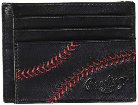 Rawlings Men'S Baseball Stitch Card Case, Black