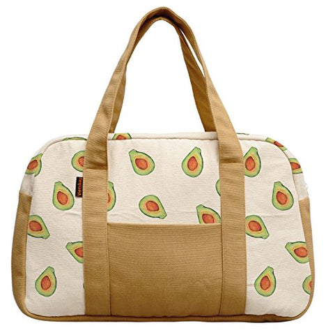 Women'S Avocado Pattern Printed Canvas Duffel Travel Bags Was_19