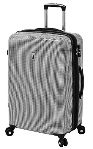 "London Fog Cambridge 25"" Expandable Hardside Spinner, Black/White Houndstooth"