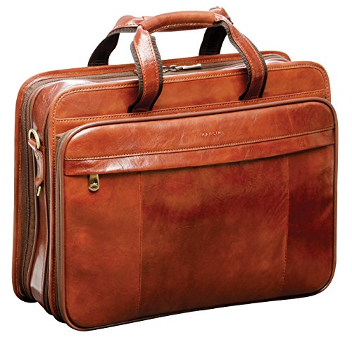 "Mancini Italian Leather 15.4"" Laptop Briefcase - Brown"