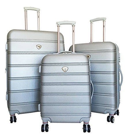 3Pc Luggage Set Suitcase Hardside Rolling 4Wheel Spinner Upright Carryon Travel Gray
