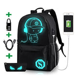 Luminous School Backpack,Ezonteq Anime Cartoon Music Boy Shoulder Laptop Travel Bag Daypack College